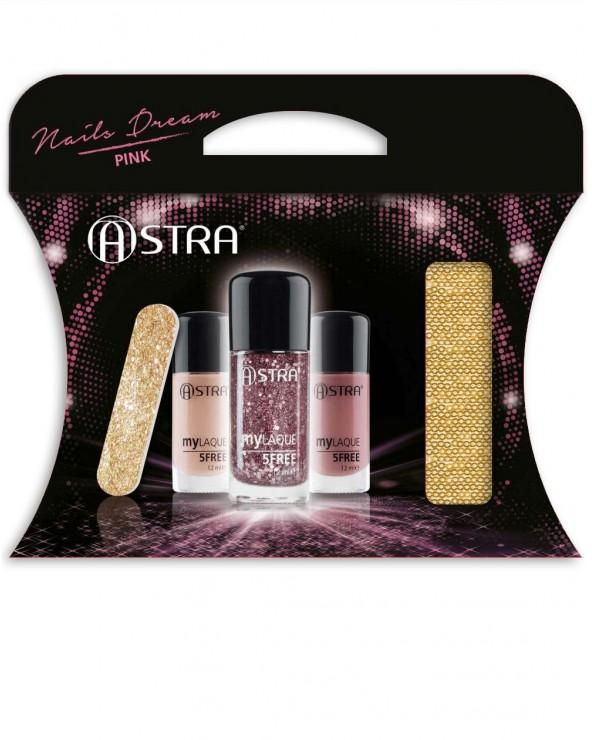 Astra Nails Dream Pink Pochette with 2 Nail Polish 1 Glitter Top Coat & Nail File