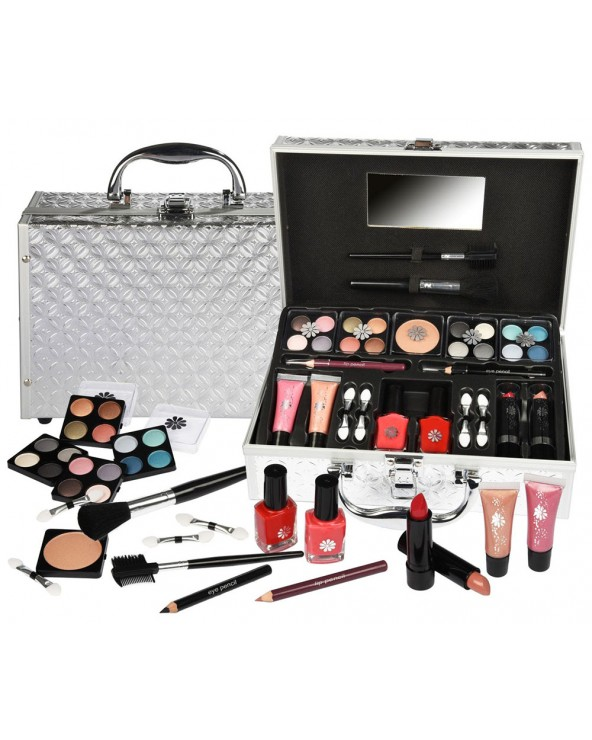 BriConti Trousse Everybody's Sweetheart Silver Cosmetic Case Fard Kajal Gloss